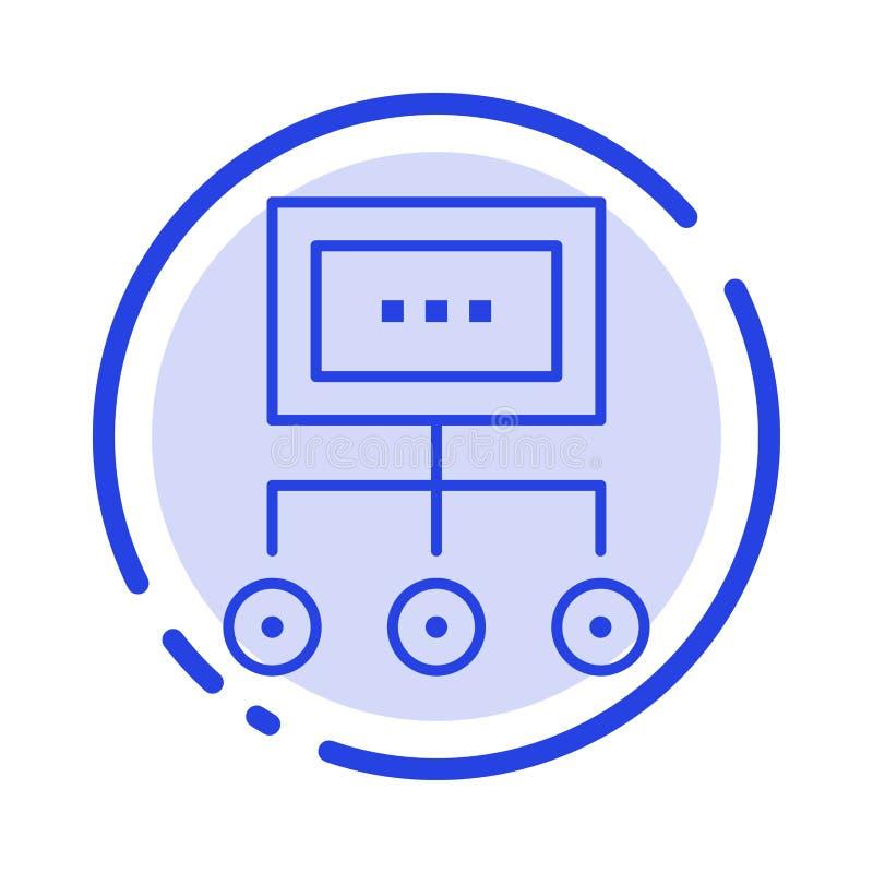 Сеть, дело, диаграмма, диаграмма, управление, организация, план, линия значок голубой пунктирной линии процесса иллюстрация вектора