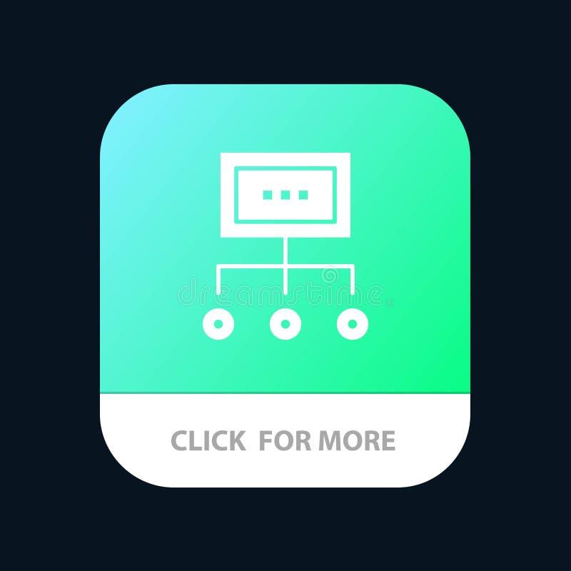 Сеть, дело, диаграмма, диаграмма, управление, организация, план, отростчатая мобильная кнопка приложения Андроид и глиф IOS верси иллюстрация вектора