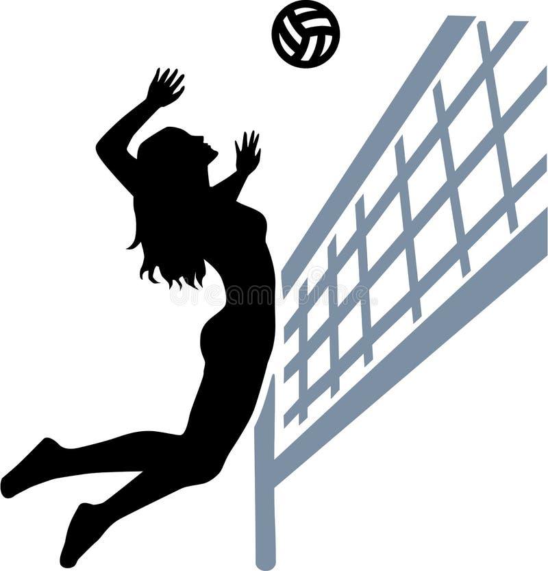 Сеть женщины волейболиста иллюстрация штока