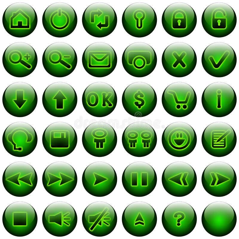 сеть зеленого цвета кнопок установленная бесплатная иллюстрация