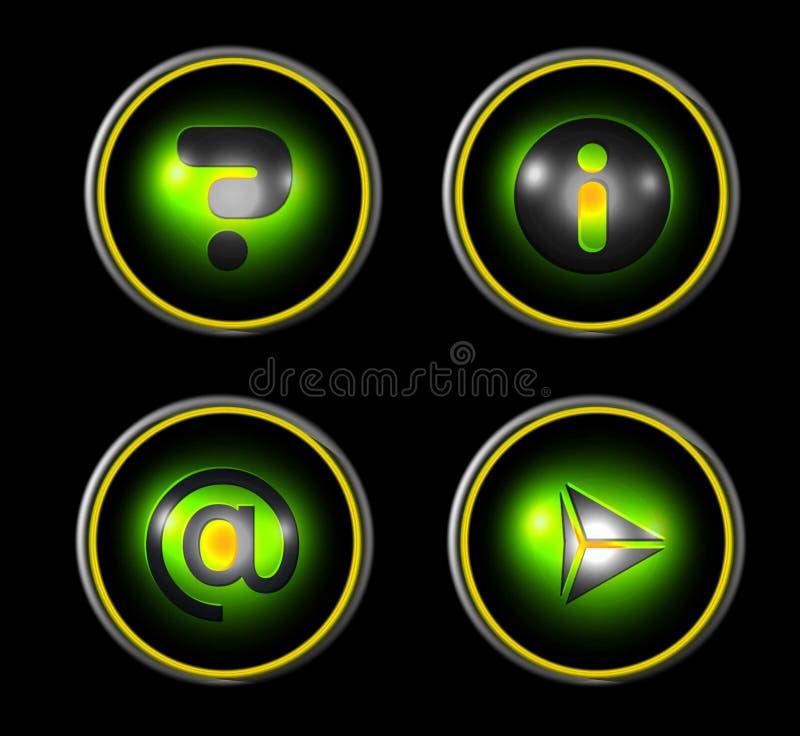сеть зеленой иконы установленная бесплатная иллюстрация