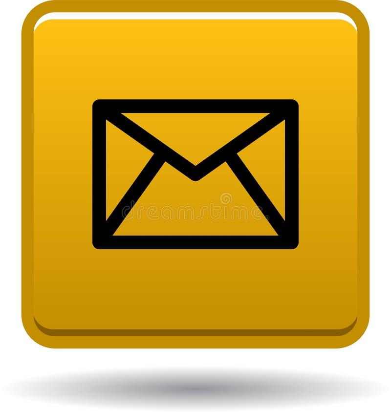 Сеть значка почты контакта застегивает золотой иллюстрация вектора