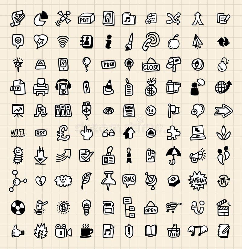 сеть иконы руки притяжки 100 иллюстрация штока