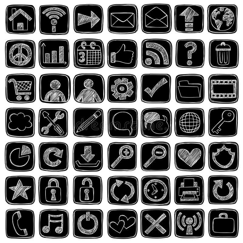 сеть иконы элементов doodle конструкции компьютера схематичная иллюстрация штока