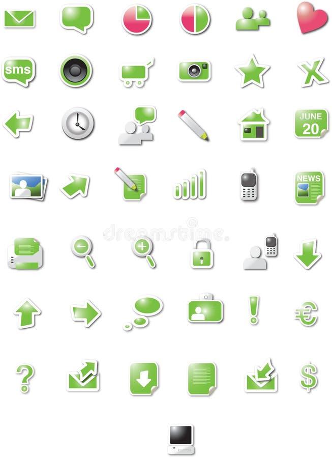 сеть икон варианта зеленая иллюстрация вектора