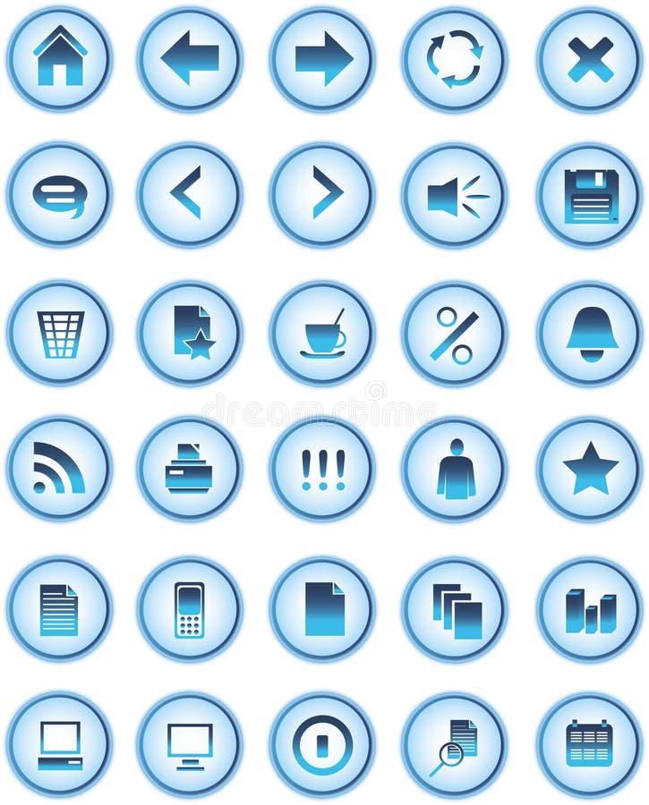 сеть икон голубых кнопок стеклянная бесплатная иллюстрация