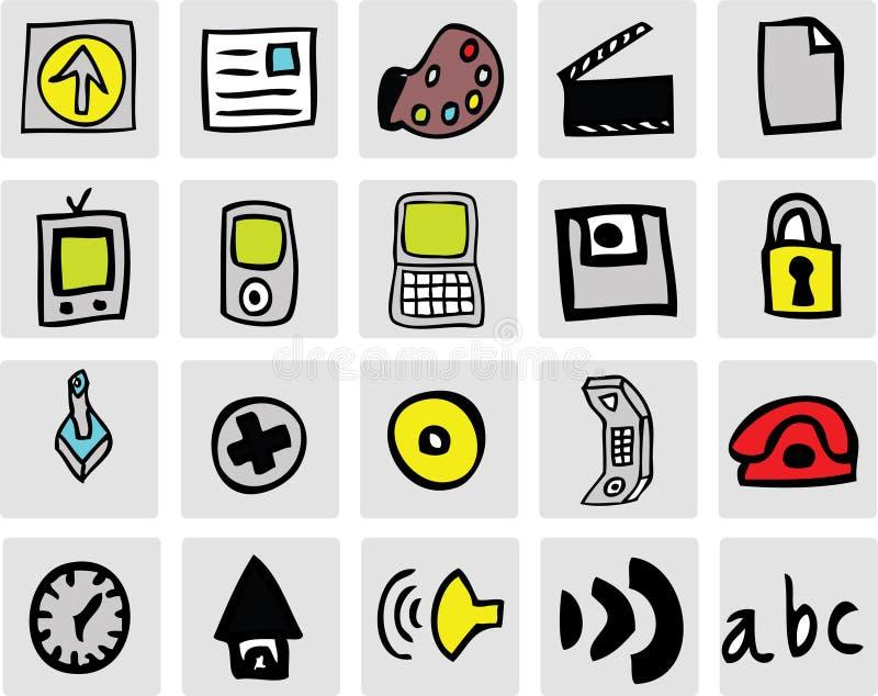 сеть икон цвета иллюстрация штока