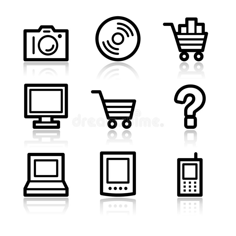 Download сеть икон электроники контура Иллюстрация вектора - иллюстрации насчитывающей вполне, фото: 6850196