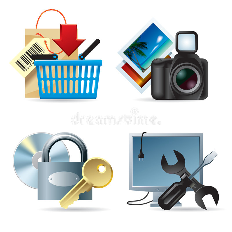 сеть икон ii компьютера бесплатная иллюстрация