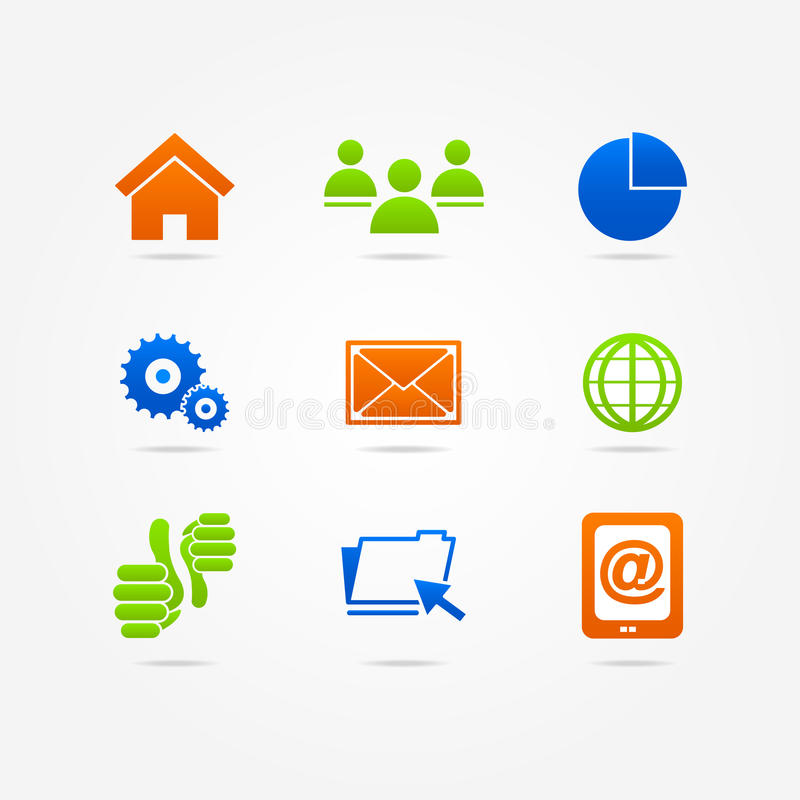 Сеть интернета значка кнопки дела установленная бесплатная иллюстрация
