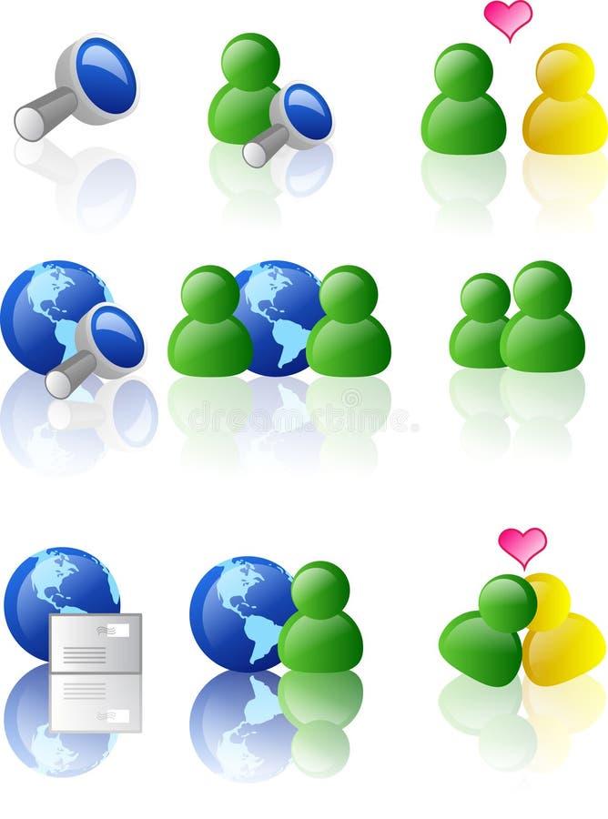 сеть интернета иконы цвета иллюстрация вектора
