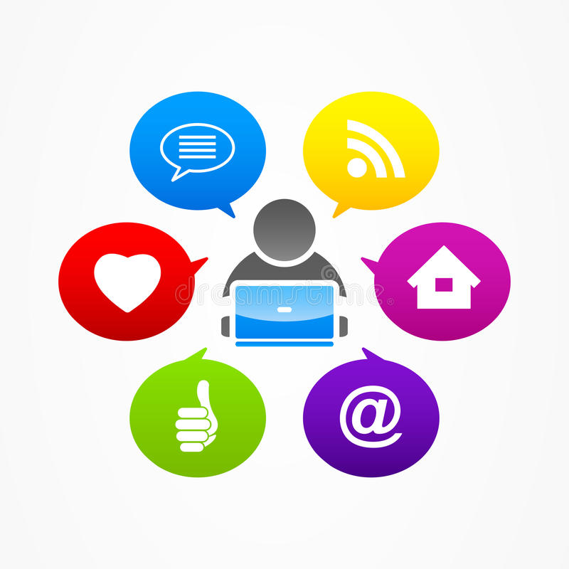 Сеть интернета средств массовой информации бизнесмена социальная иллюстрация вектора