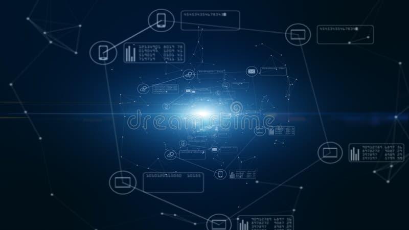 Сеть и информационное соединение технологии Безопасная сеть передачи данных и персональная информация E бесплатная иллюстрация