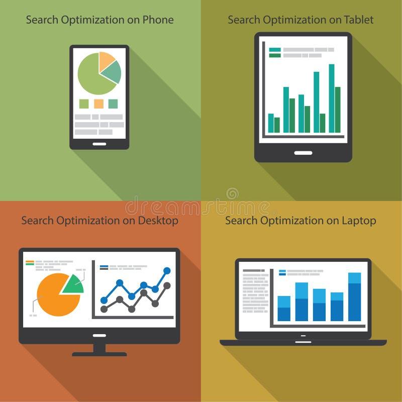 Сеть и концепция аналитика SEO - иллюстрация иллюстрация штока
