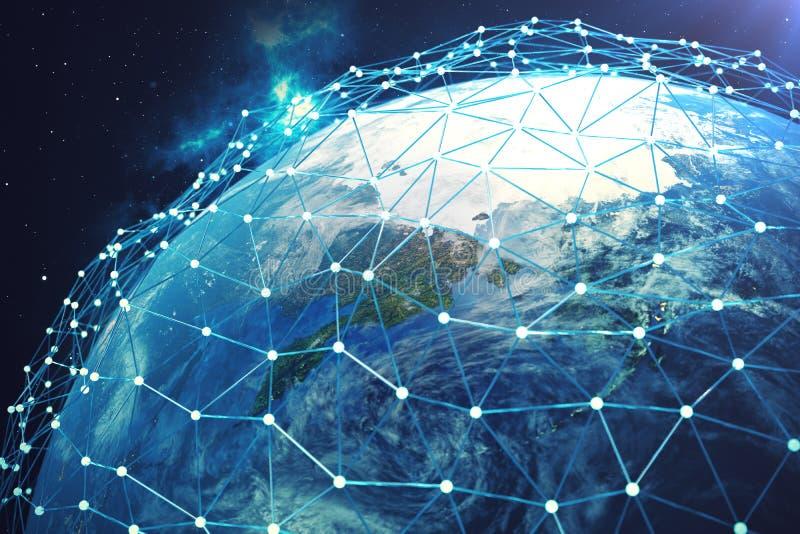сеть и обмен данными перевода 3D над землей планеты в космосе Линии соединения вокруг глобуса земли Глобальные иллюстрация штока