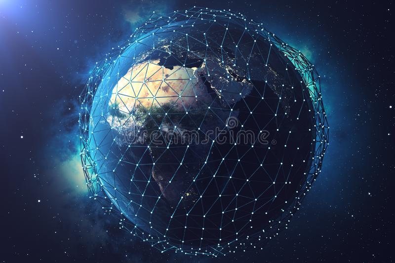 сеть и обмен данными перевода 3D над землей планеты в космосе Линии соединения вокруг глобуса земли Глобальные бесплатная иллюстрация