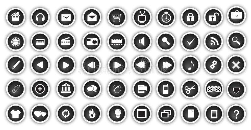 сеть кнопки установленная бесплатная иллюстрация