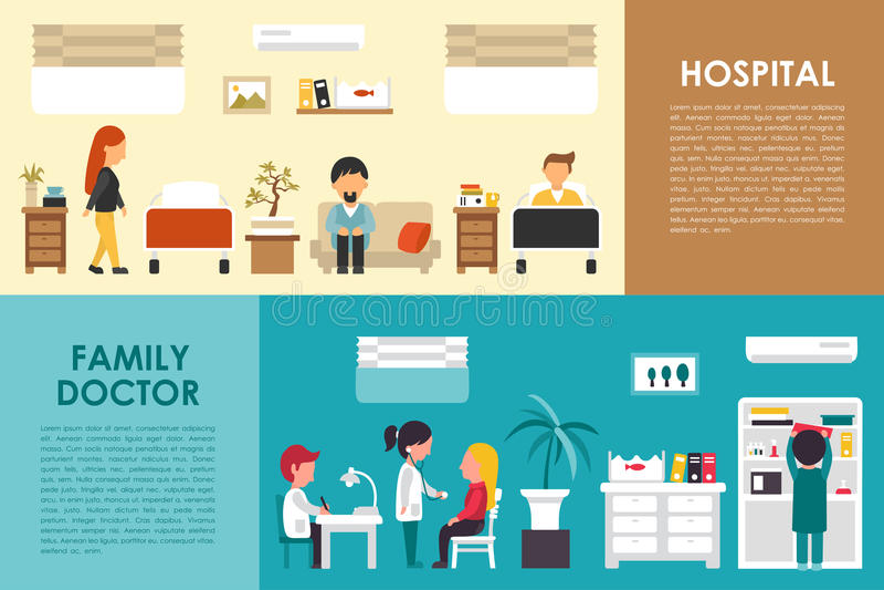 Сеть концепции плоской больницы больницы и семейного врача внутренняя vector иллюстрация Доктор, медсестра, пациент, здравоохране иллюстрация штока