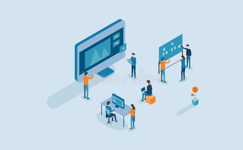Сеть концепция превращается и процесса веб-дизайна иллюстрация штока