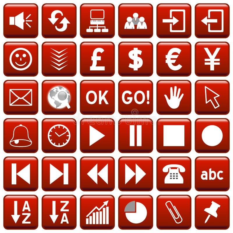 сеть красного квадрата 3 кнопок