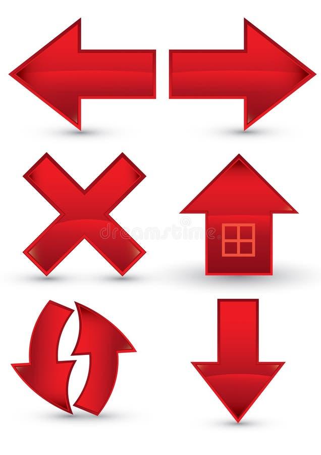 сеть красного цвета навигации иконы стоковое фото rf