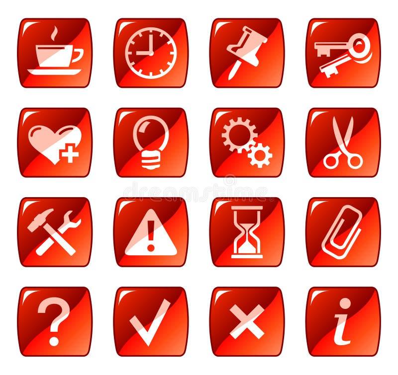 сеть красного цвета 2 икон кнопок иллюстрация штока