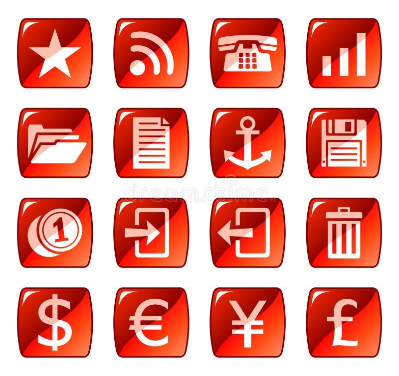 сеть красного цвета 3 икон кнопок бесплатная иллюстрация