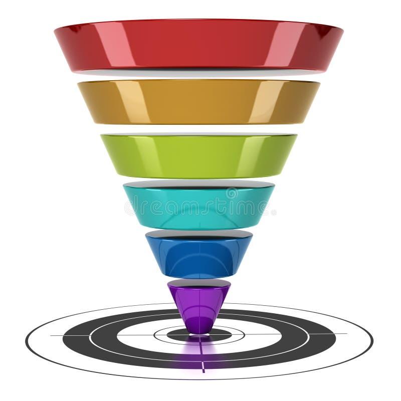 сеть маркетинга воронки преобразования иллюстрация вектора