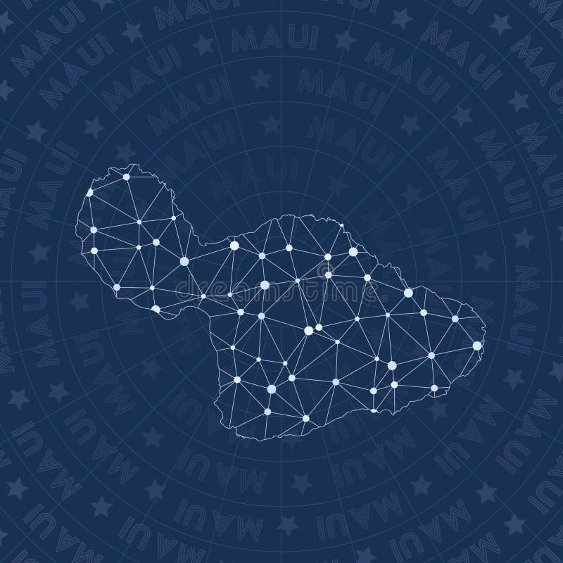 Сеть Мауи, карта острова стиля созвездия иллюстрация штока