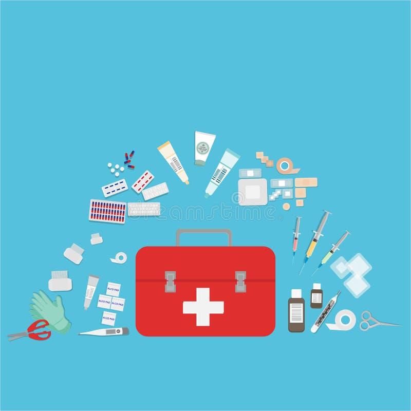Сеть медицинского оборудования плоские и иллюстрация печати бесплатная иллюстрация