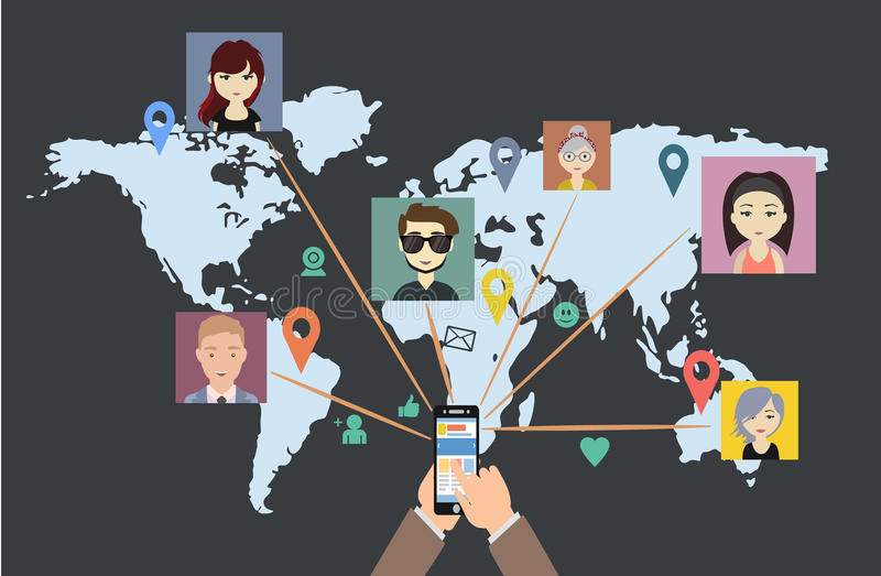Сеть мира социальная говорит бесплатная иллюстрация
