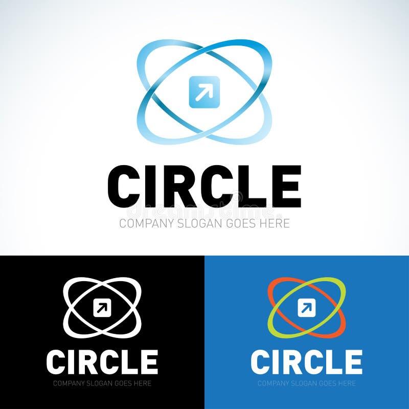 Сеть орбиты технологии звенит логотип Дизайн логотипа кольца круга вектора Абстрактный шаблон логотипа подачи Круглая форма кольц иллюстрация вектора
