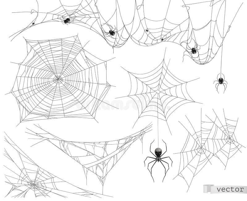 Сеть паука, набор вектора элементов иллюстрация вектора