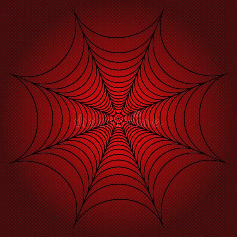 Сеть паука, паутина на предпосылке поставленной точки красным цветом также вектор иллюстрации притяжки corel иллюстрация вектора
