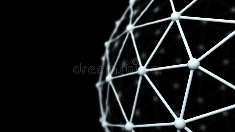 Сеть, поверхность модели атома, закрывает вверх по концепции взгляда, дела или науки, переводу 3d иллюстрация вектора