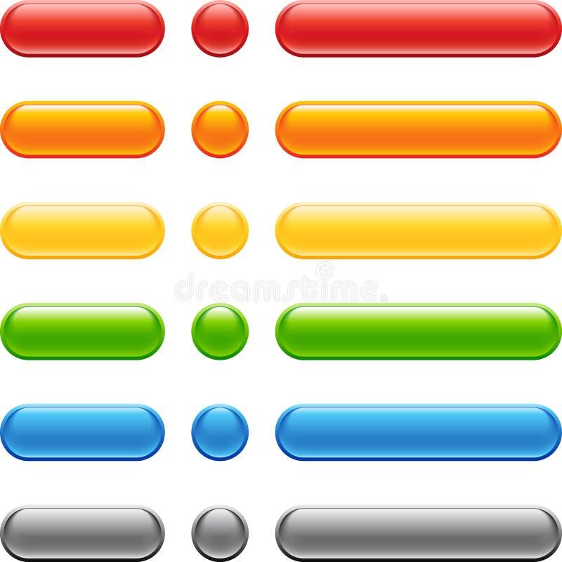 сеть покрашенного комплекта кнопки иллюстрация вектора