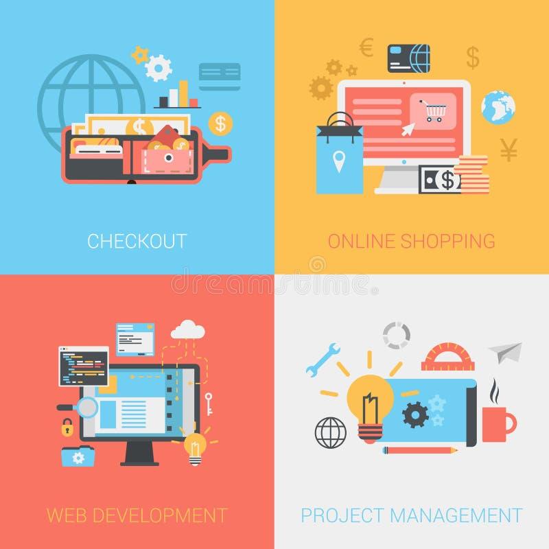Сеть покупок плоской проверки онлайн начинает комплект руководства проектом иллюстрация штока