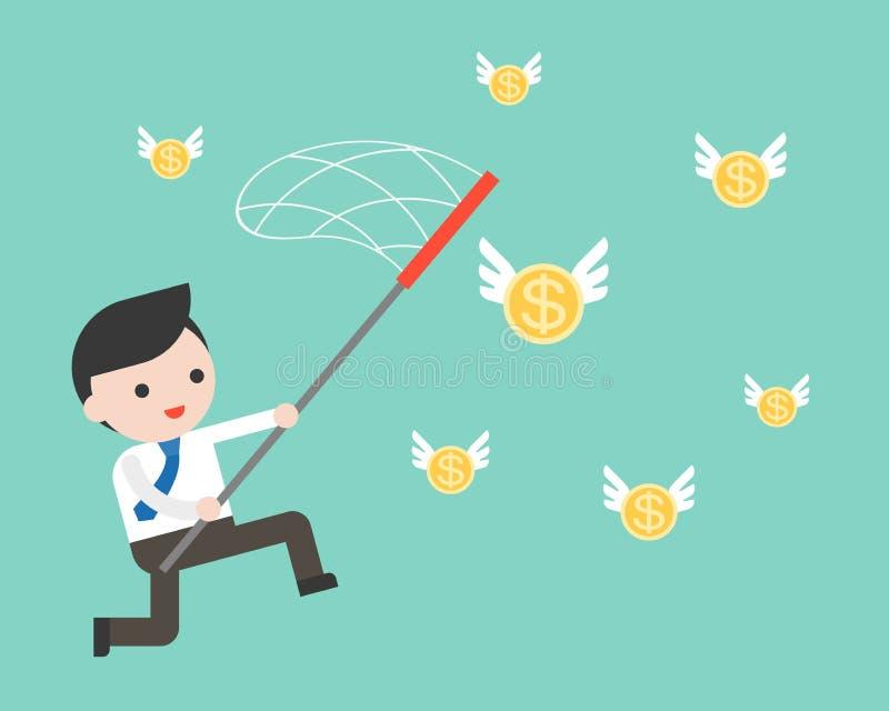 Сеть пользы бизнесмена для заразительных золотых монеток летания иллюстрация вектора