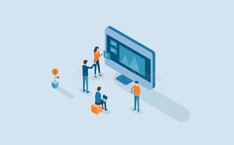Сеть превращается и процесс веб-дизайна с равновеликой плоской деятельностью команды дела людей иллюстрация штока