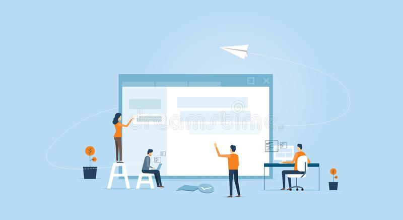 Сеть превращаются и проектная группа веб-дизайна бесплатная иллюстрация