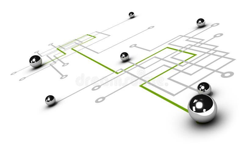 Сеть, принципиальная схема сети иллюстрация штока