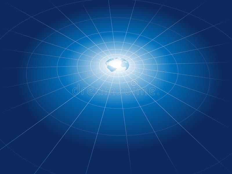 сеть решетки земли двигает по орбите технология иллюстрация вектора