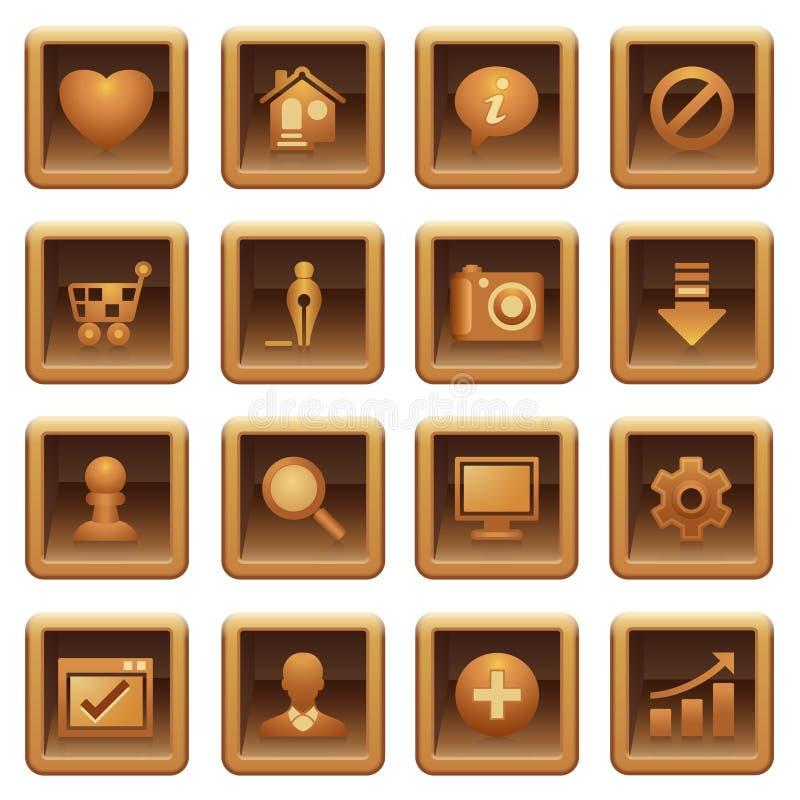 сеть серии икон основного коричневый иллюстрация вектора