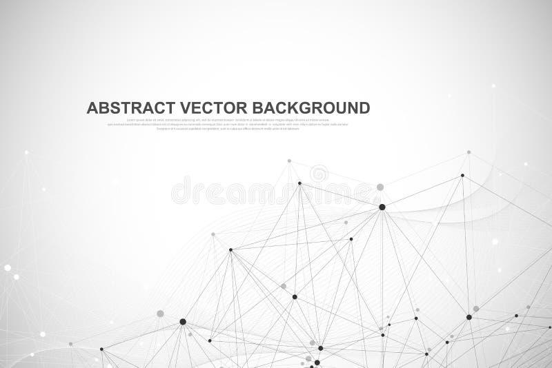 Сеть соединяет концепцию технологии абстрактную Соединения глобальной вычислительной сети с пунктами и линиями иллюстрация вектора
