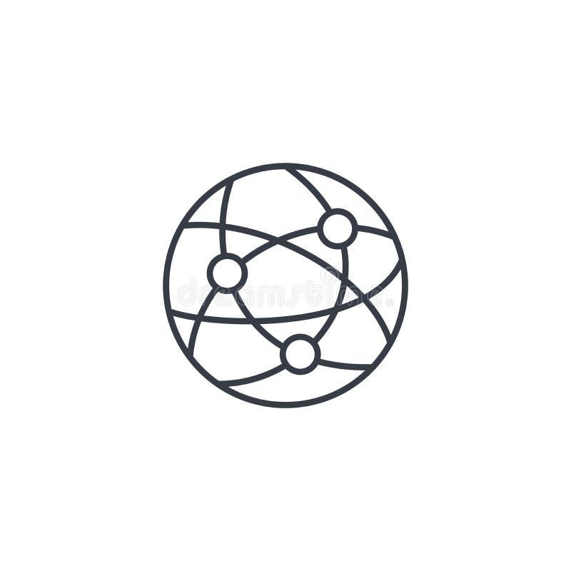 Сеть, социальные средства массовой информации, глобальная связь, линия значок интернета тонкая Линейный символ вектора иллюстрация вектора