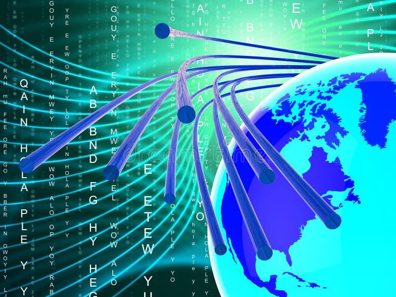 Сеть стекловолокна показывает Всемирный Веб и сообщение иллюстрация штока