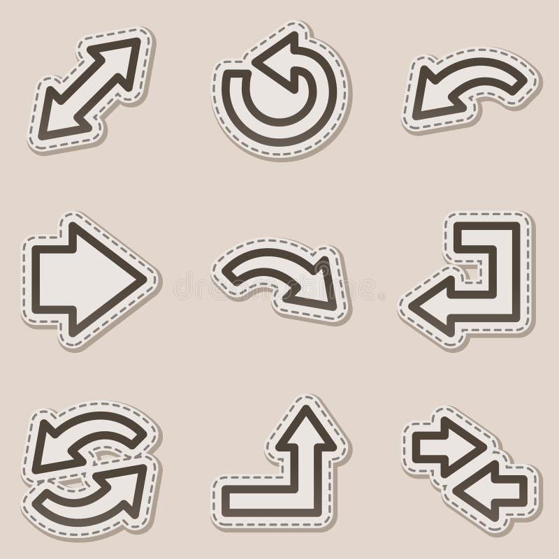 сеть стикера серии икон контура стрелок коричневая