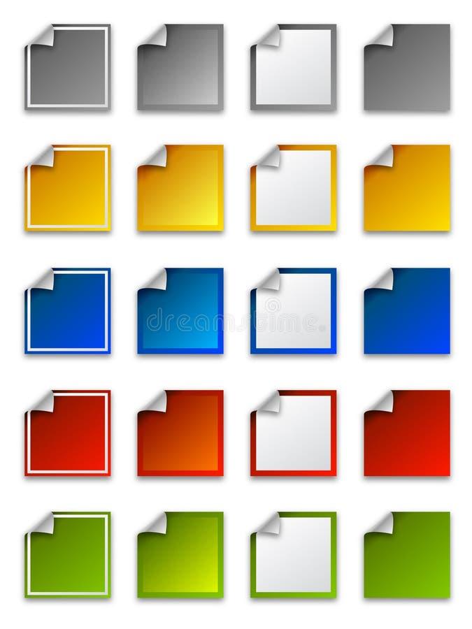 сеть стикеров ярлыков икон квадратная иллюстрация штока