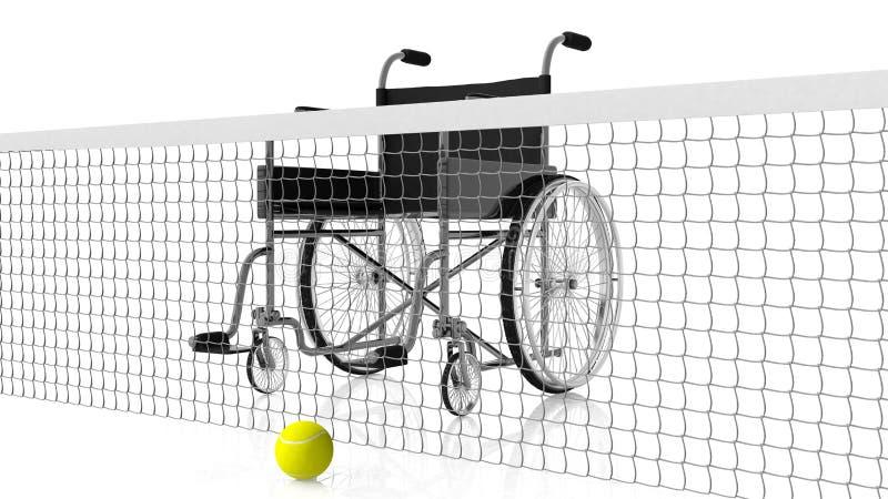 Сеть с кресло-коляской и теннисным мячом иллюстрация штока