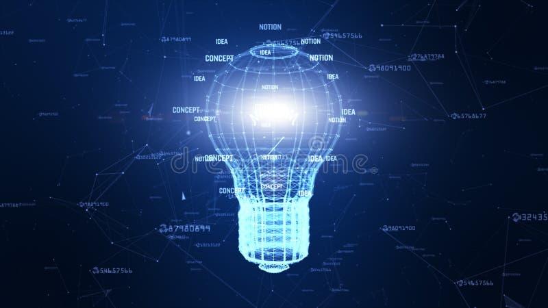 Сеть технологии с идеей цифровой голубой предпосылки лампы творческой для сети в концепции мира цифровой иллюстрация вектора